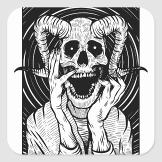devil face square sticker
