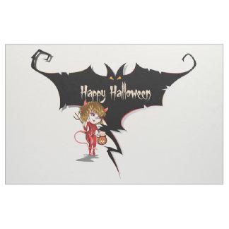 Devil girl and bat happy Halloween. Fabric