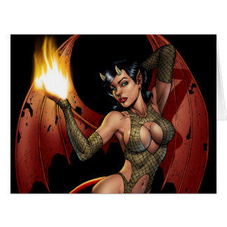 Devil Girl Pinup Illustration with Fire by Al Rio Big Greeting Card