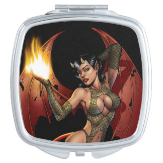 Devil Girl Pinup Illustration with Fire by Al Rio Mirror For Makeup