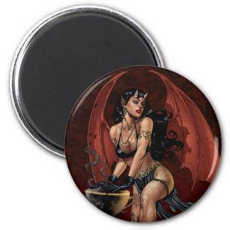 Devil Girl Witch s Cauldron Smoking Gothic Art Magnets
