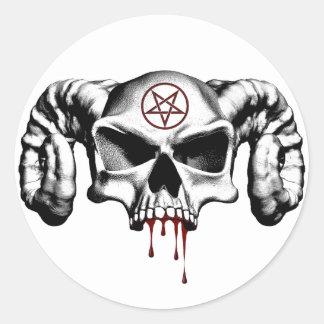 Devil Half Skull Round Stickers