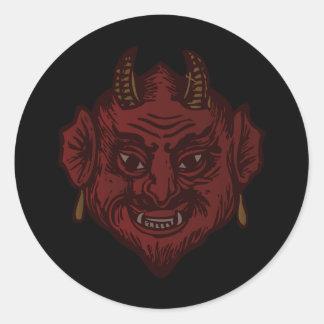 Devil Head (faded red) Round Sticker