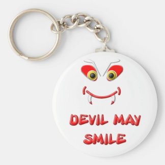 DEVIL MAY SMILE 2.png Basic Round Button Key Ring