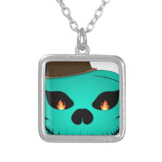 Devil monster silver plated necklace