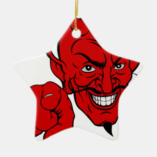 Devil Pointing Cartoon Character Ceramic Ornament