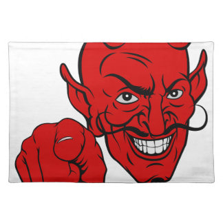 Devil Pointing Cartoon Character Placemat