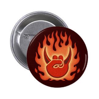 Devil Rock Flames Button