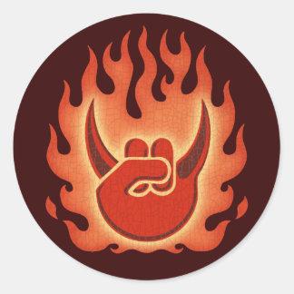 Devil Rock Flames Round Sticker