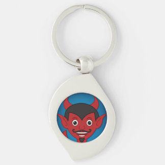 Devil Silver-Colored Swirl Key Ring