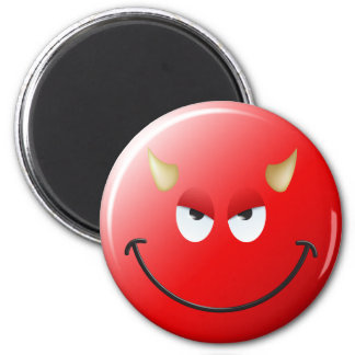 Devil Smiley Face 6 Cm Round Magnet