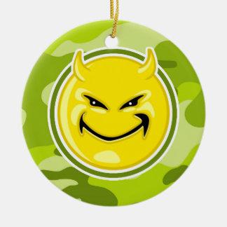 Devil Smiley Face; bright green camo, camouflage Ornament