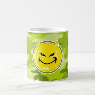 Devil Smiley Face; bright green camo, camouflage Coffee Mugs