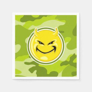 Devil Smiley Face; bright green camo, camouflage Paper Napkin