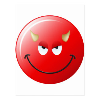 Devil Smiley Face Postcard