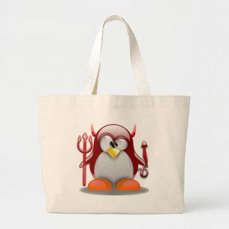 Devil Tux (Linux Tux) Jumbo Tote Bag