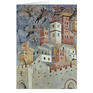 Devil Urban Landscape By Giotto Di Bondone Card