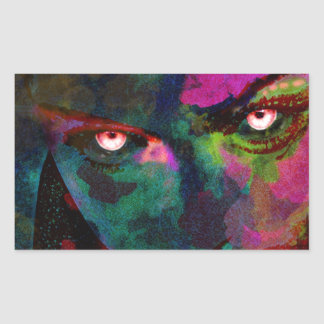 devils eyes rectangular sticker