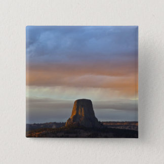 Devils Tower National Monument, Storm at Sunset 15 Cm Square Badge
