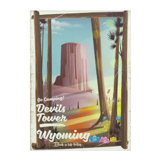 Devils Tower, Wyoming vintage Camping print. Acrylic Wall Art