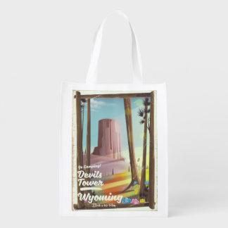 Devils Tower, Wyoming vintage Camping print. Reusable Grocery Bag