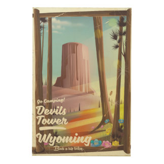 Devils Tower, Wyoming vintage Camping print. Wood Print