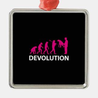 Devolution Evolution Funny Reissue Silver-Colored Square Decoration