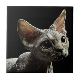 Devon Rex Kitten Ceramic Tile
