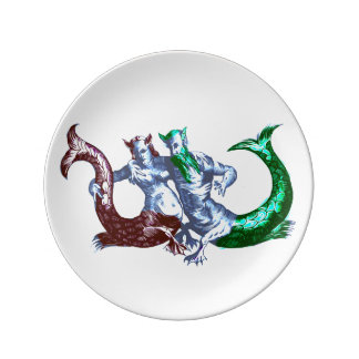 Devoted Mermaid Couple Porcelain Plate
