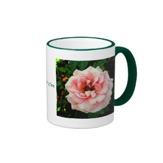 Dew-covered Pink Rose Ringer Mug