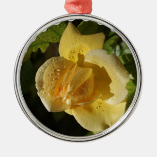 Dew Drop Yellow Rose Metal Ornament