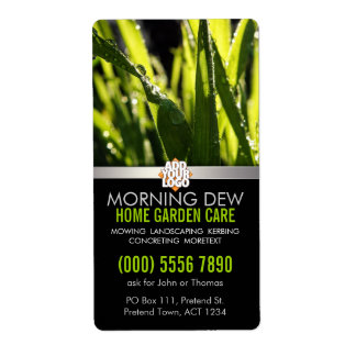 Dew Drops Grass Garden Nature w/ Logo Business Shipping Label