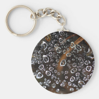 Dew drops in a spider net basic round button key ring