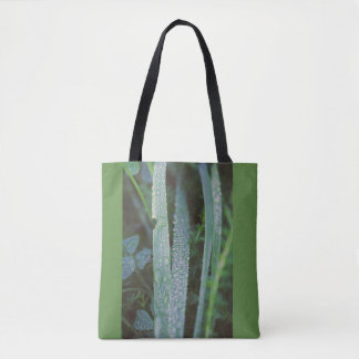 Dew drops in the grass tote bag