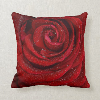 Dew On A Red Rose Macro Shot Square Pillow