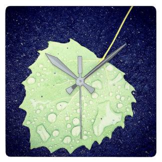 Dewy Leaf Square Wall Clock