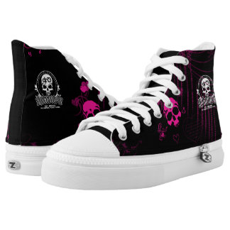 DF13 Pink Skully Zips Printed Shoes