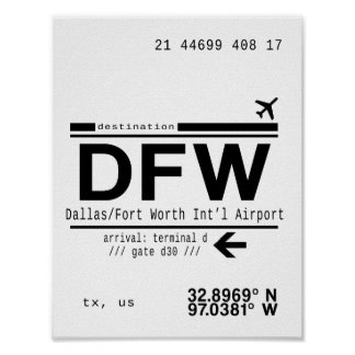 DFW Dallas/Fort Worth International Airport Poster