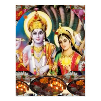 DHAN Laxmi n Lord Vishnu: for Display n Reference Postcard