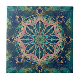 Dharma Wheel - Dharmachakra Gemstone & Gold Ceramic Tile