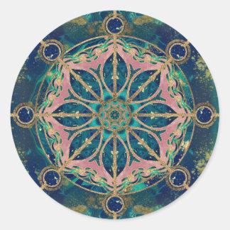 Dharma Wheel - Dharmachakra Gemstone & Gold Classic Round Sticker