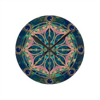 Dharma Wheel - Dharmachakra Gemstone & Gold Round Clock