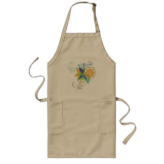 Dharma Wheel Floral Long Apron