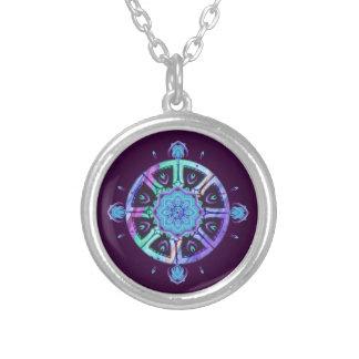 Dharma Wheel Purple & Blue Abstract Pendant