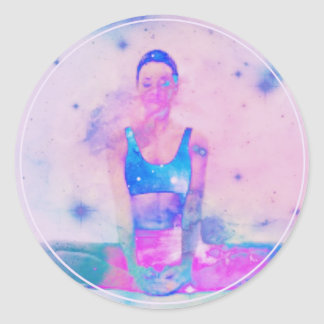 Dharma Yoga Girl Series Pink Classic Round Sticker