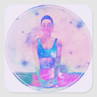 Dharma Yoga Girl Series Pink Square Sticker