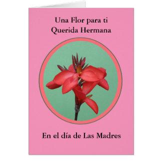 Dia de Las Madres Una flor para mi hermana Card