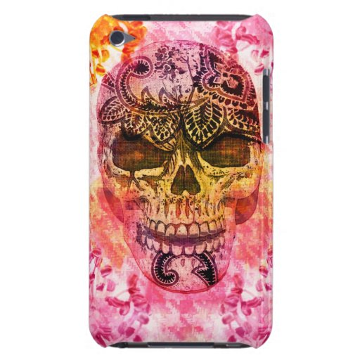 dia de los muertes girly pink skull barely there iPod covers