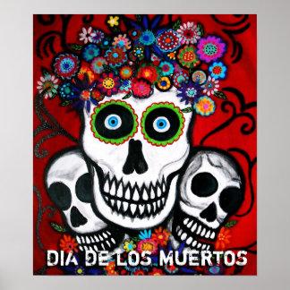 Dia de los mUertos 3 skulls poster