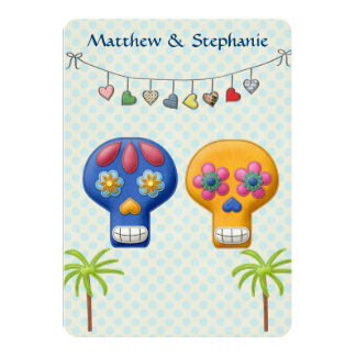 DIA DE LOS MUERTOS BEACH WEDDING 13 CM X 18 CM INVITATION CARD